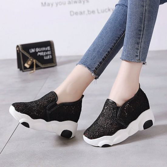 High Platform Breathable Floral Jogger Shoes-Black image