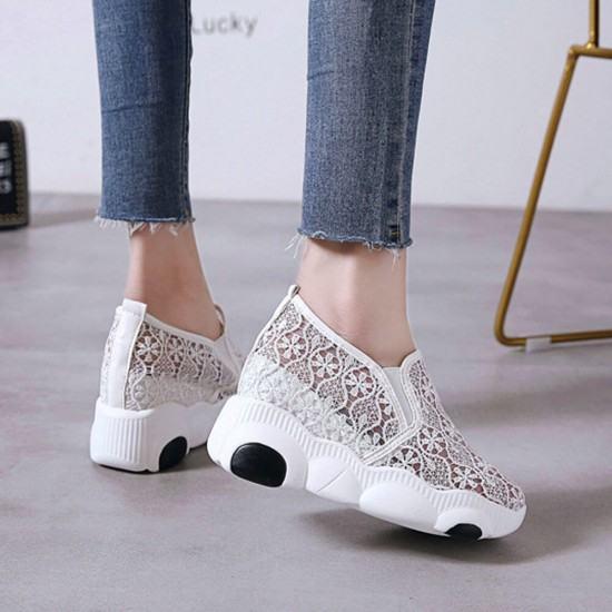High Platform Breathable Floral Jogger Shoes-White image