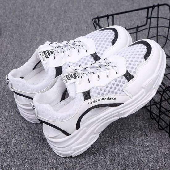 High Platform Breathable Round Head Canvas Jogger Shoes-Black image