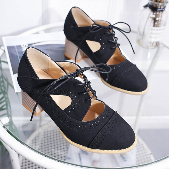 Mid Heeled Breathable Laces Up Leather Women Shoes-Black image