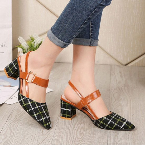 Women's Chunky Block Heels Pointed Toe Buckle Shoes-Black image