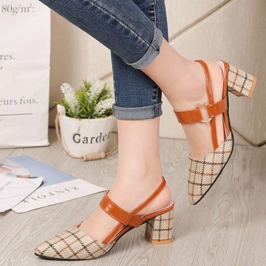 Women's Chunky Block Heels Pointed Toe Buckle Shoes-Brown image