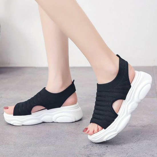 Relaxing Open Toe Thick Bottom Sports Sandals - Black image