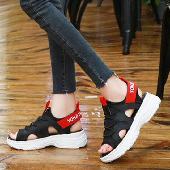 Thick Soft Bottom Muffin Casual Sandals - Black image