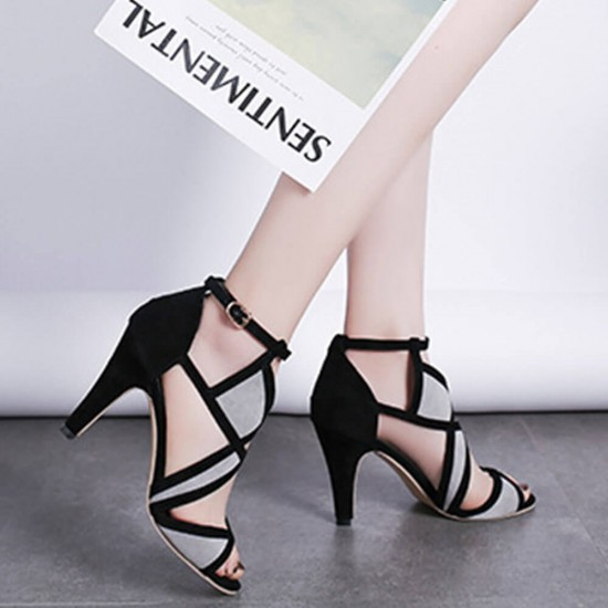 Black Gray Alien Heel Cross Ties Buckle Women Sandals-Black image