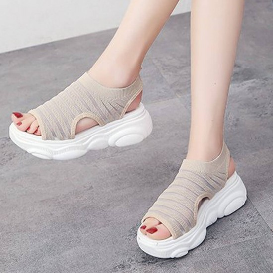 Relaxing Open Toe Thick Bottom Sports Sandals - Cream image