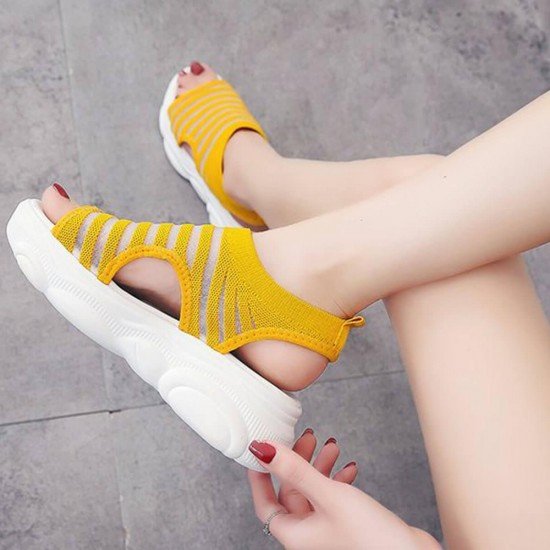 Relaxing Open Toe Thick Bottom Sports Sandals - Yellow image