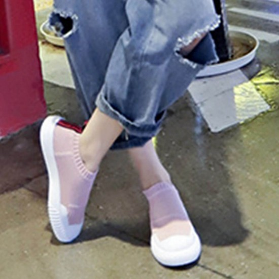 Air Mesh Breathable Thick Platform Black Sneakers Shoes - Pink image