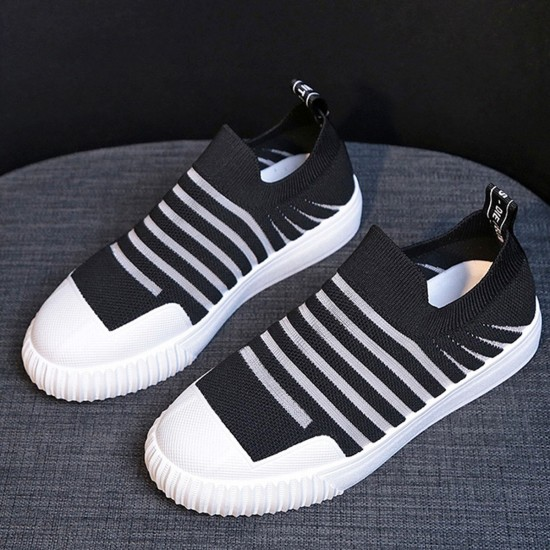 Mesh Breathable Strips Pattern Walking Sneakers - Black image