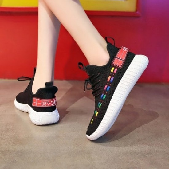 Double Stripes Color contrast Running Sneakers - Black image