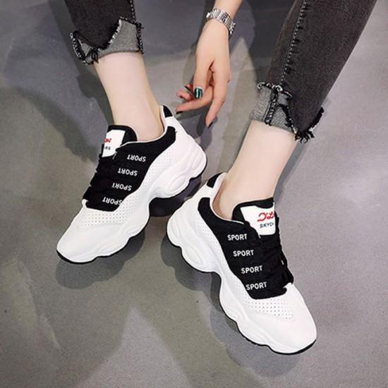Mesh Breathable Black Contrast Sports Women Shoes - Black image