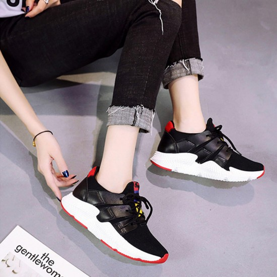 Canvas Breathable Lace Up Fitness Sports Shoes - Black image