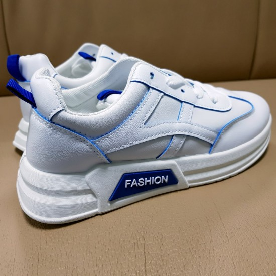 Blue Contrast Layers Casual Sports Shoes - White |image