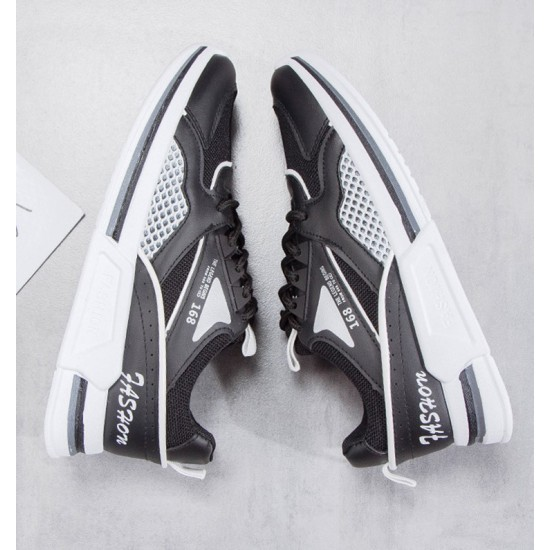 Breathable Air Mesh running thick sole sneakers - Black image