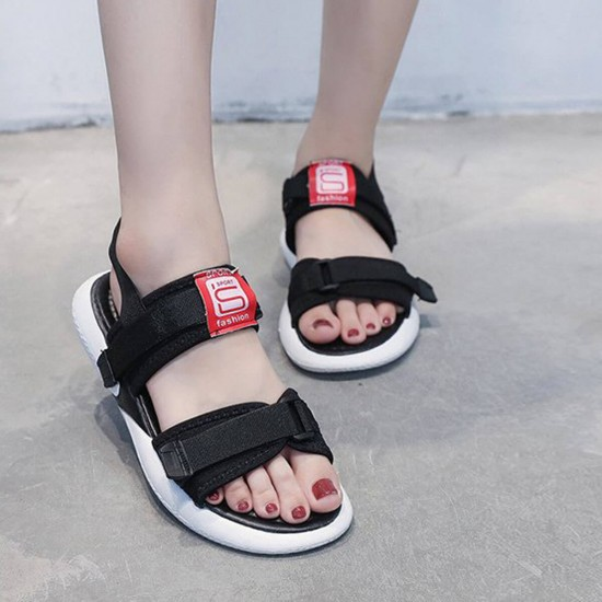 Women Black Sports Thick Base Velcro Sandals - Black image