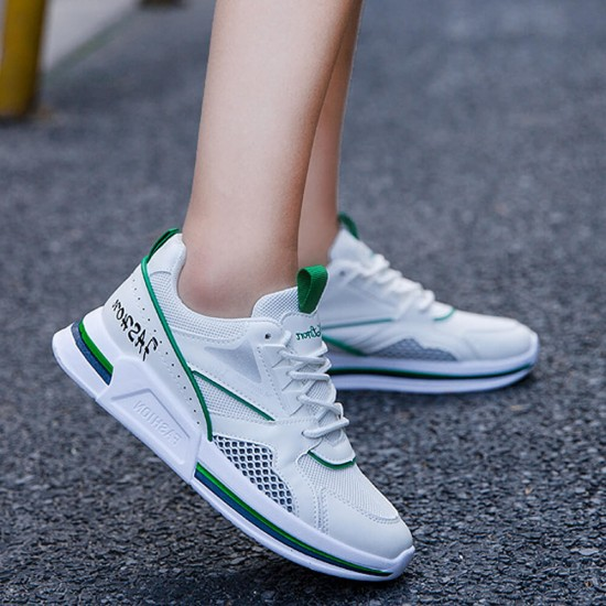 Breathable Air Mesh running thick sole sneakers - White image