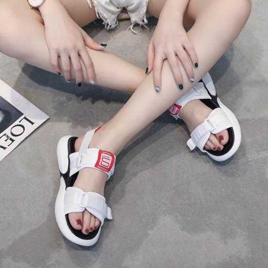 Women White Sports Thick Base Velcro Sandals - White image