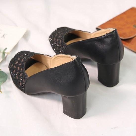 Heeled Slip On Hollow Medium Open Toe Fashion Shoes - Black image