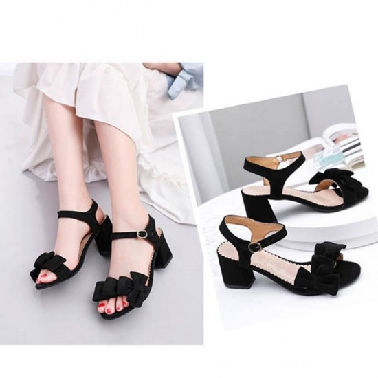 Bow Patched Thick Sole Women Buckle Sandals - Black image