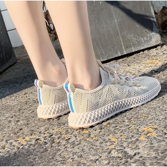Women Flat Running Beige Laced Canvas Sneaker - Beige image