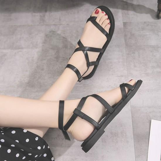 Criss Cross Tied Leather Women Flat Sandals - Black image