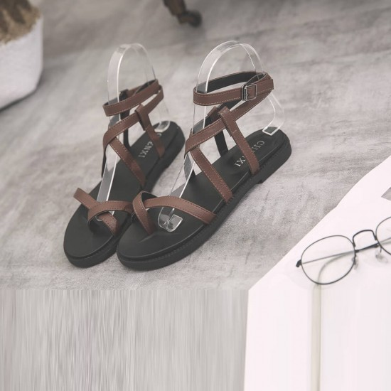 Criss Cross Tied Leather Women Flat Sandals - Brown image