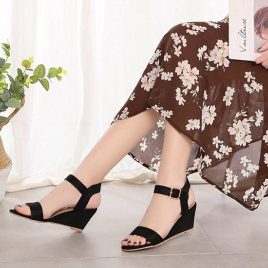 Short Wedge Suede Buckle Strap Ladies Sandals - Black image