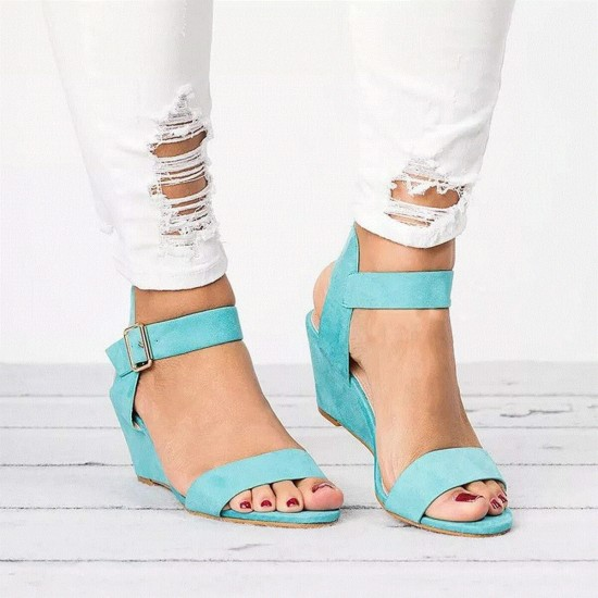 Short Wedge Suede Buckle Strap Ladies Sandals - Blue image