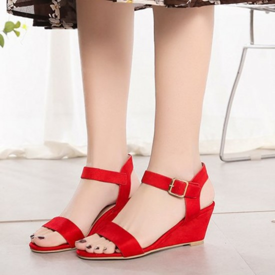Short Wedge Suede Buckle Strap Ladies Sandals - Redimage