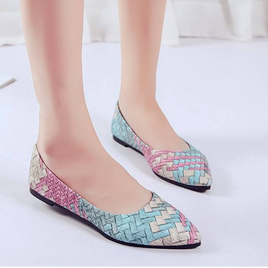 Ballet Flat Colored Shallow Mouth Women Shoes - Blue image