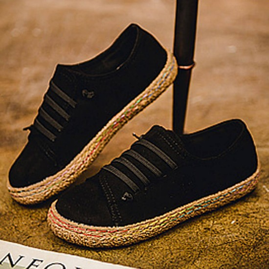 Strip Sole Casual Cotton Round Head Flat Shoes - Black image