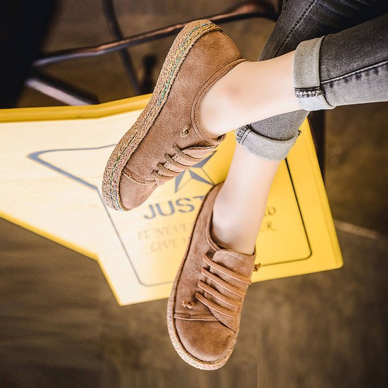 Strip Sole Casual Cotton Round Head Flat Shoes - Brown image