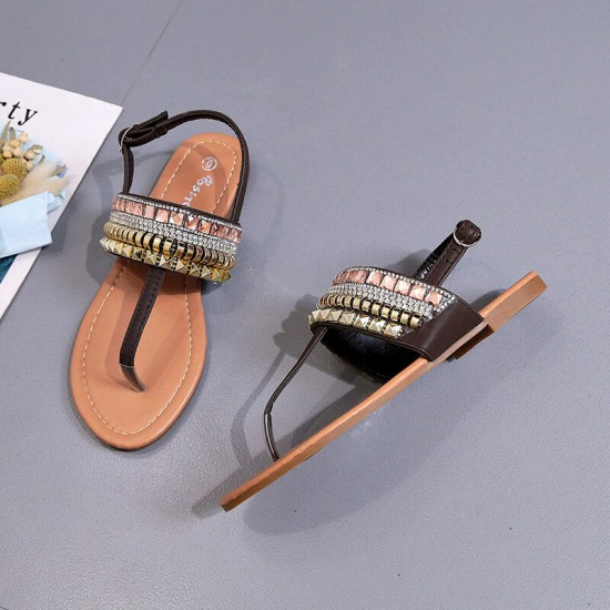 Crystal Flat Bohemian Decorative Casual Sandals - Black image