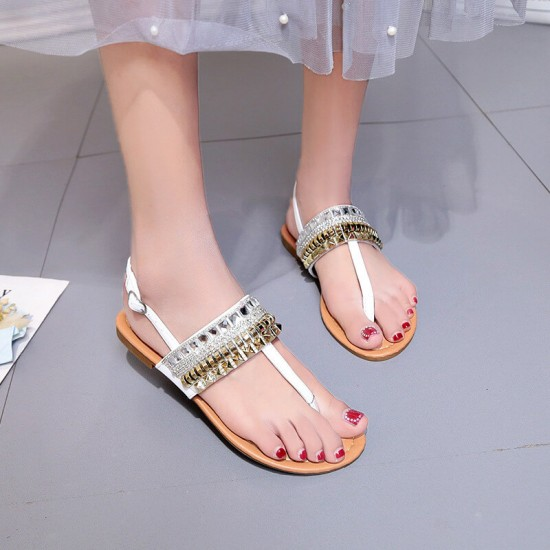 Crystal Flat Bohemian Decorative Casual Sandals - White image