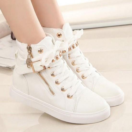 Canvas Fashion Casual Zipper Women Sneaker - White image