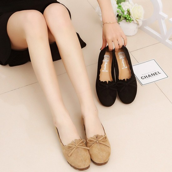 Solid Bow-Knot Shallow Mouth Casual Flat Shoes - Black image