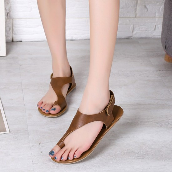 Flat Toe Leather Slide Velcro Sandals - Brown image