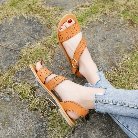 Open Toe Flat Bottom Casual Flat Sandals - Brown image