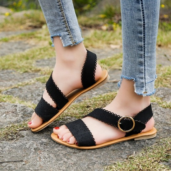 Open Toe Flat Bottom Casual Flat Sandals - Black image