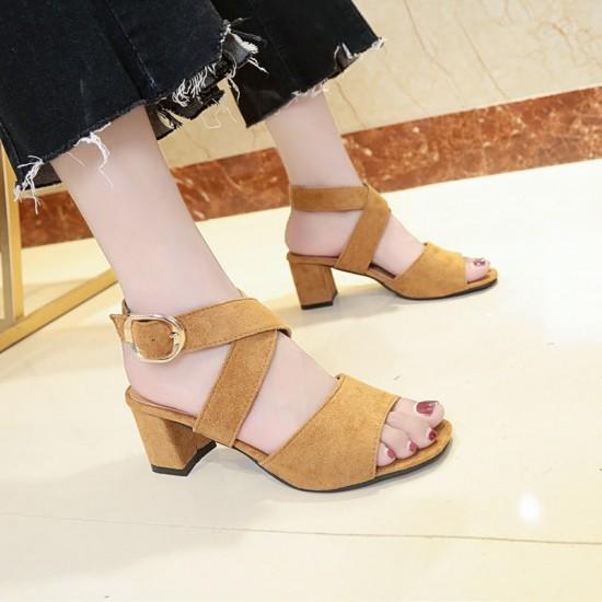 Cross Strap Suede Buckle Thick Heel Sandals - Brown image