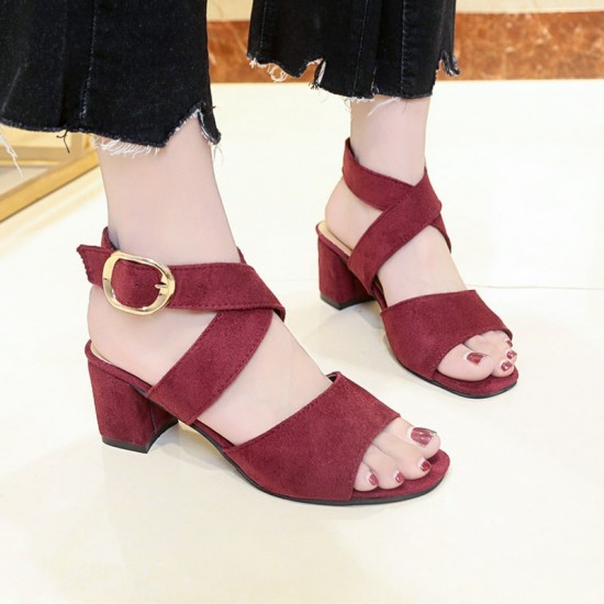 Cross Strap Suede Buckle Thick Heel Sandals - Red image
