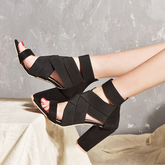Suede Strappy Criss Cross Heeled Sandals - Black  image