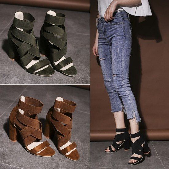 Suede Straps Criss Cross Heeled Sandals - Brown image