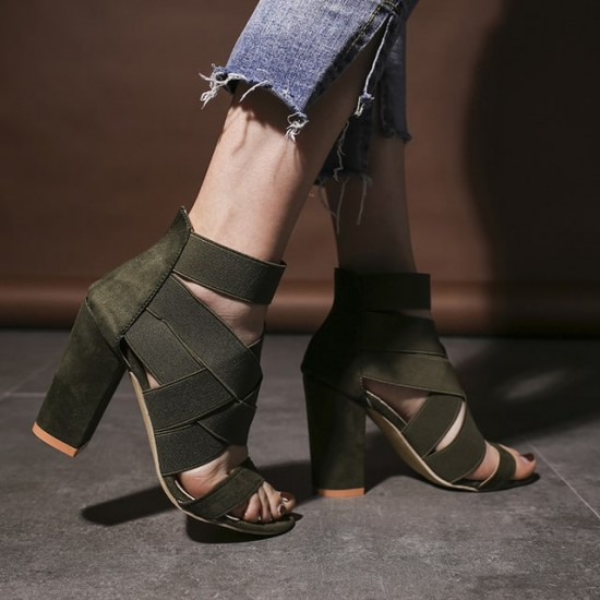 Suede Straps Criss Cross Heeled Sandals - Green image