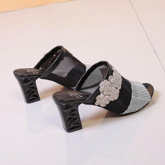 Embroidered Slide Flip Flops Heel Sandals - Black image