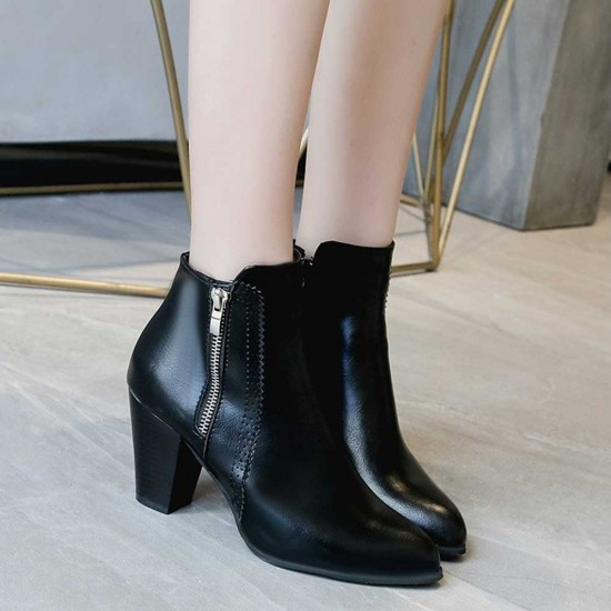 Side Zipper Vintage Block Heel Leather Boots - Black image