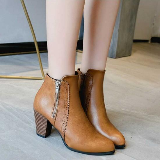 Side Zipper Vintage Block Heel Leather Boots - Brown image