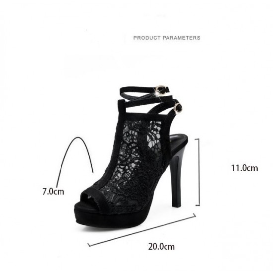 Black Floral Mesh High Heeled Roman Style Sandals - Black image