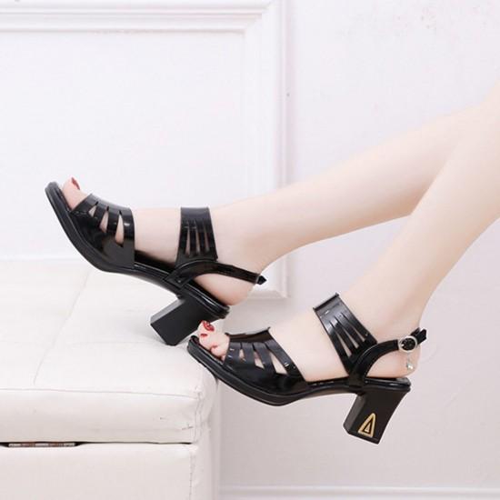 Chunky Platform Thick High Heeled Sandals - Black image