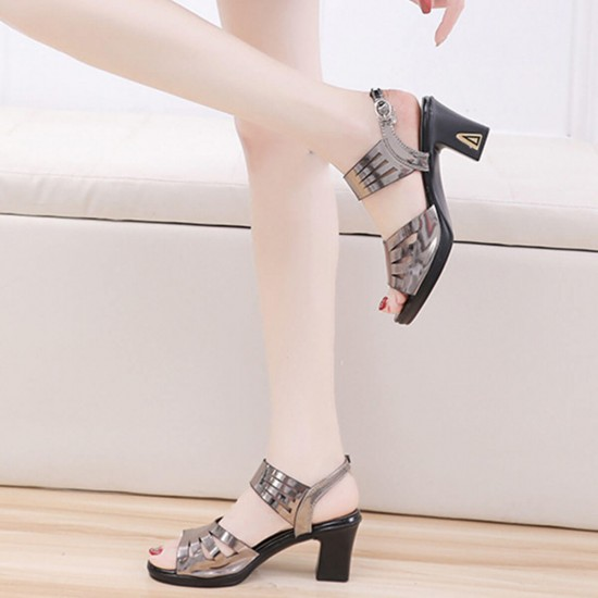 Chunky Platform Thick High Heeled Sandals - Brown image